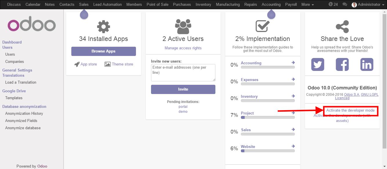 How to activate developer mode — Odoo Development master
