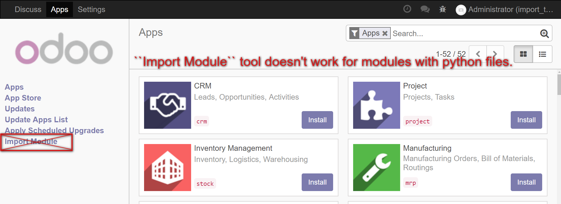 How to install/update module — Odoo development master documentation