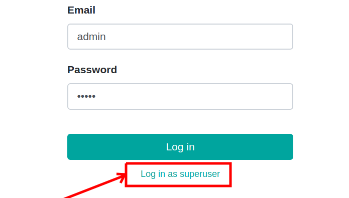 How to log in as a superuser — Odoo development master documentation